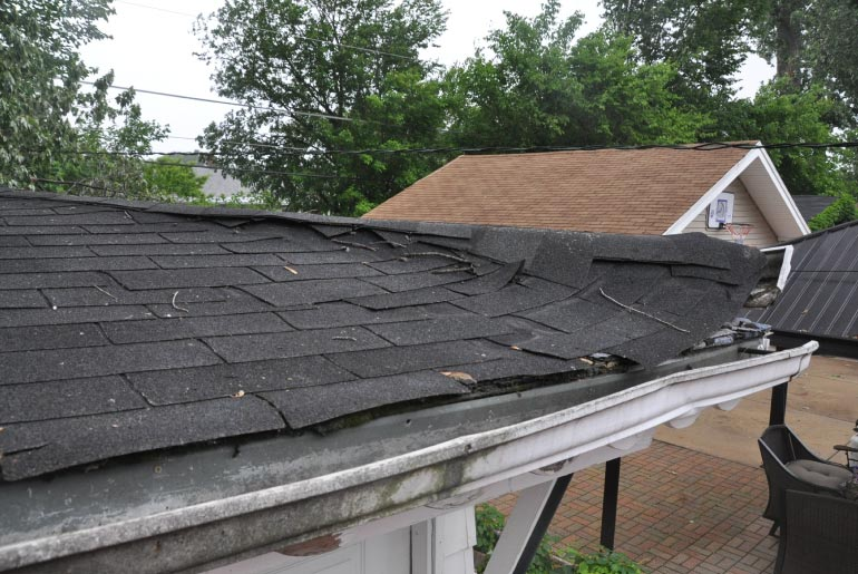 Snow Load Damage To Residential Garage Roof Bellwood Il